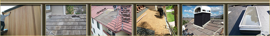 this is a group of six images that show roof repair, types of roofing, siding, a chimney, and a skylight repair